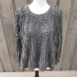Madewell Fringe Stripe Pullover Wool Sweater